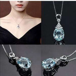 New women's blue aquamarine necklace chain⛓